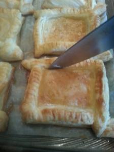 Baked til golden brown.  Run tip of sharp around inside edge.